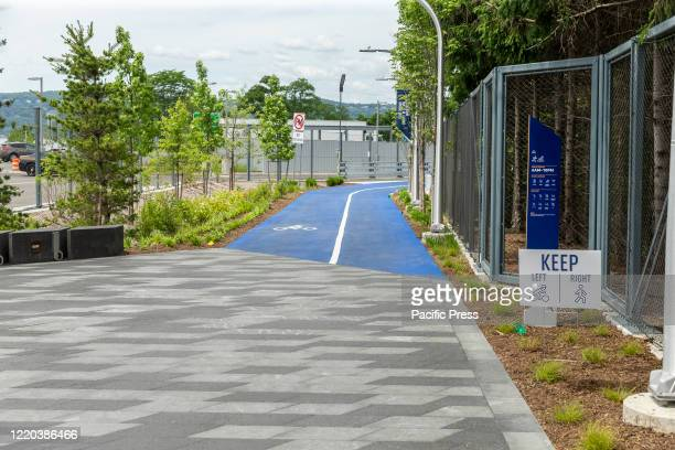 View of Mario Cuomo Bridge for pedestrian and bike riders path painted in blue in Tarrytown Cuomo is opening up a shared use path for pedestrians and...