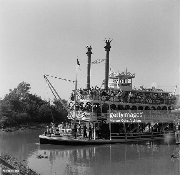 A view of Mark Twain Riverboat ride during the Opening day of Disneyland in AnaheimCalifornia