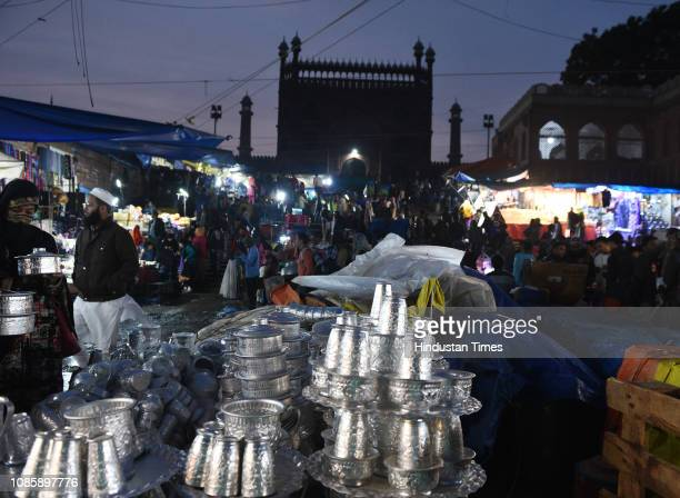 A view of market after light drizzle in front of Jama Masjid on January 21 2019 in New Delhi India Delhi received light rainfall on Monday a day...