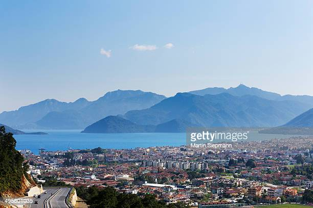 View of Marmaris, Bozburun Peninsula at back, the Aegean, Marmaris, Provinz Mugla, Aegais, Turkey