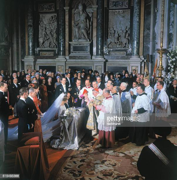 View of marriage ceremonyPrincess Irene of the Netherlands and Don Hugo Carlos of Bourbon Parma are wed April 29th in the baroque Borghese Chapel of...