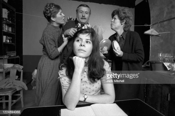 View of married actors Eli Wallach and Anne Jackson, along with their daughters, Roberta and Katherine Wallach, in their Off-Off-Broadway production...