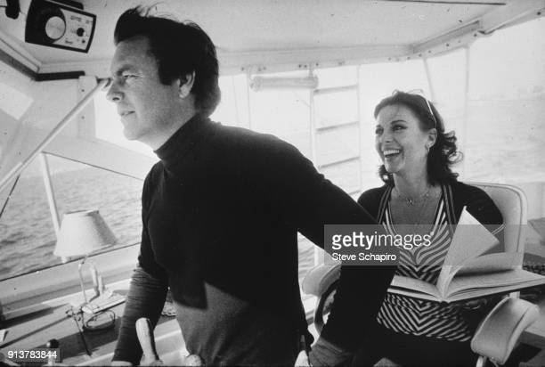 View of married American actors Robert Wagner and Natalie Wood on their yacht the 'Splendour' October 8 1976