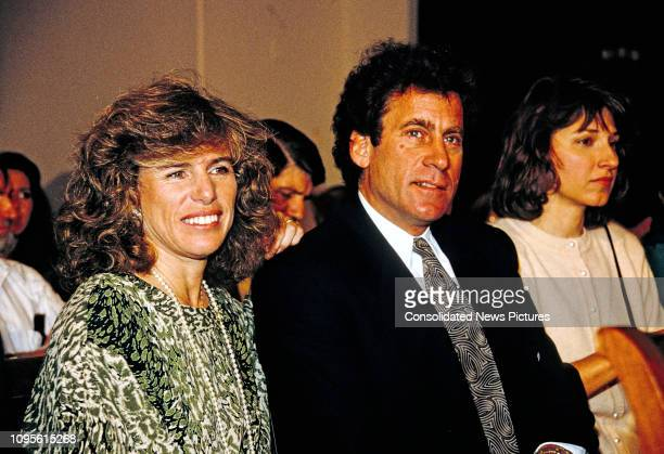 View of married American AIDS activists Elizabeth Glaser and actor director Paul Michael Glaser as they wait to testify before the House Budget...