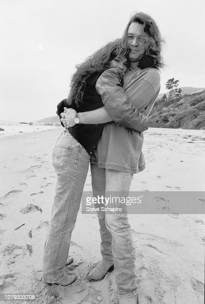 View of married couple, American actress Valerie Bertinelli and Dutch-born American Rock musician Eddie Van Halen as they hug one another on the...