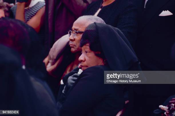 View of married couple Reverend Martin Luther King Sr and Alberta Williams King as they attend the public memorial service for their son Dr Martin...