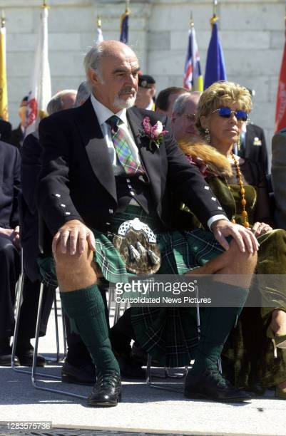 View of married couple Scottish actor Sir Sean Connery and FrenchMoroccan artist Lady Micheline Roquebrune Connery as they sit outside the US Capitol...