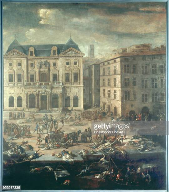 View of Marseille city hall during the great plague 1720 Serre Michel Museum of Fine Arts of Marseille France