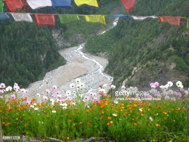 view of marsyangdi river in upper pisang. annapurna trekking circuit. nepal - nepali flag stock pictures, royalty-free photos & images