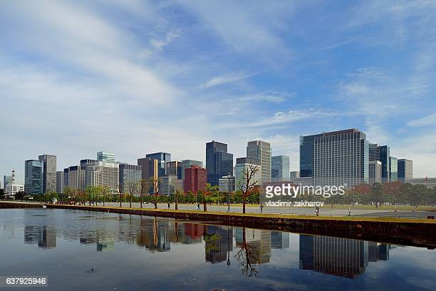 view of marunouchi  and imperial palace plaza - imperial palace tokyo stock photos and pictures