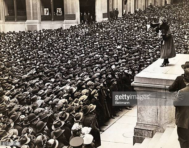 View of Mary Pickford selling Liberty Loan in front of the SubTreasury Building during the Third Loan Campaign World War I Undated photograph