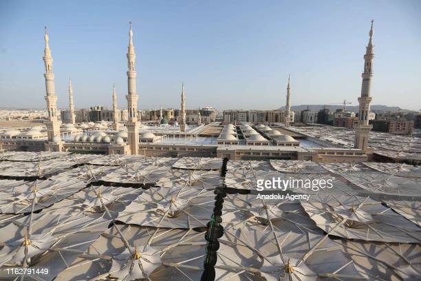 A view of Masjid alNabawi as Muslim hajj pilgrims visit Medina Saudi Arabia on August 19 2019 After completing the pilgrimage in Mecca Muslims began...