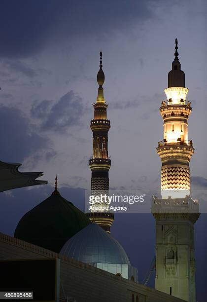 A view of Masjid alNabawi where the tomb of Prophet Mohammad is located visited by Muslim pilgrims in Madina after they accomplish their holy...