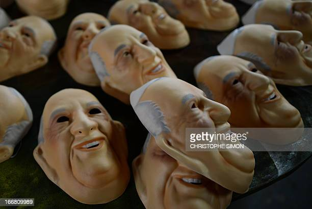 View of masks representing Pope Francis in a factory in Niteroi 20 Km from Rio de Janeiro Brazil on April 17 2013 Brazil is to host World Youth Day...