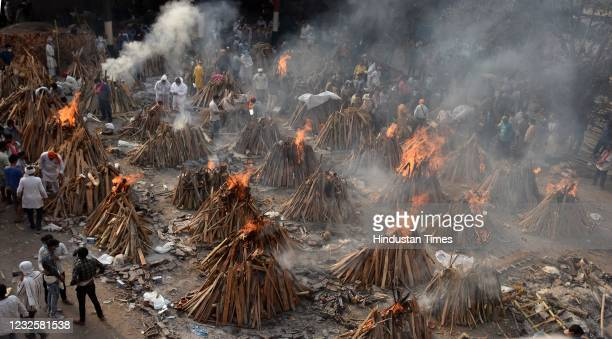 View of mass cremation of Covid-19 victims at Gazipur crematorium on April 28, 2021 in New Delhi, India. India, in the last 24 hours, recorded 3 960...