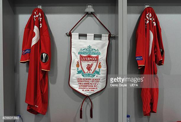 View of match pennant at the Liverpool dressing room ahead of the UEFA Europa League Semi Final first leg match between Villarreal CF and Liverpool...