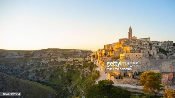 View of Matera at sunrise, Basilicata, Italy
