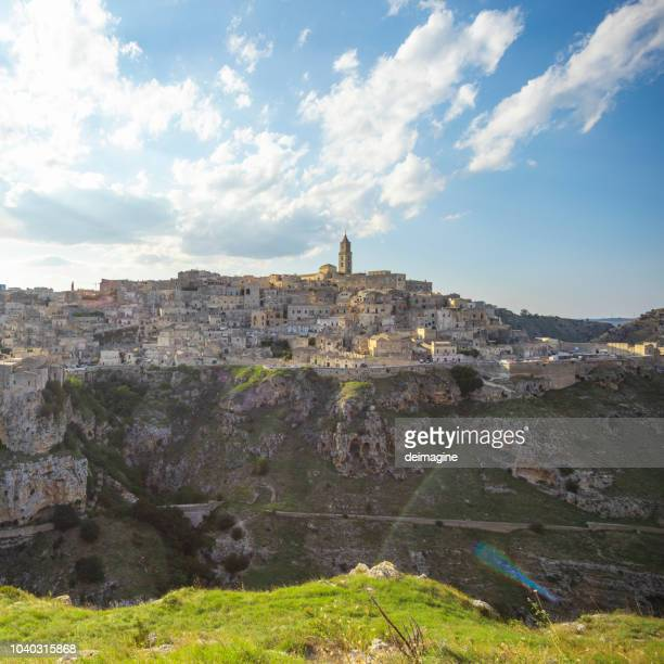 view of matera from a cave, basilicata, italy - matera italy stock pictures, royalty-free photos & images