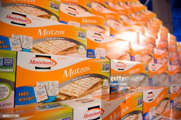 A view of Matzo boxes at the UJAFederation of New York's The Bash Gala 2017 at Skylight Clarkson Sq on April 6 2017 in New York City
