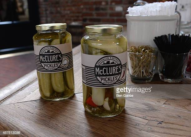 A view of McClures Pickles at The New York Times Presents American Harvest Organic Vodka's Greenmarket Brunch Hosted By Geoffrey Zakarian during Food...