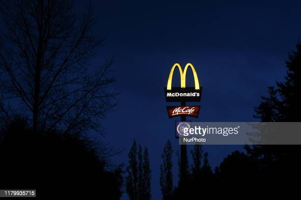 A view of McDonald's and McCafe logos outside McDonald's restaurant in Rzeszow Poland on the day when McDonald's has fired its chief executive Steve...