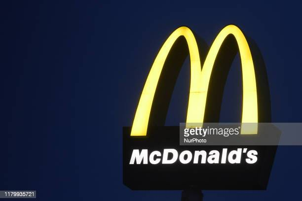 A view of McDonald's logo outside McDonald's restaurant in Rzeszow Poland on the day when McDonald's has fired its chief executive Steve Easterbrook...