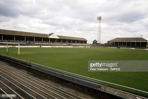 View of Meadow Lane showing the County Road stand built in 1923 and knocked down in 1992 and the Meadow Lane stand which was brought over from Trent...
