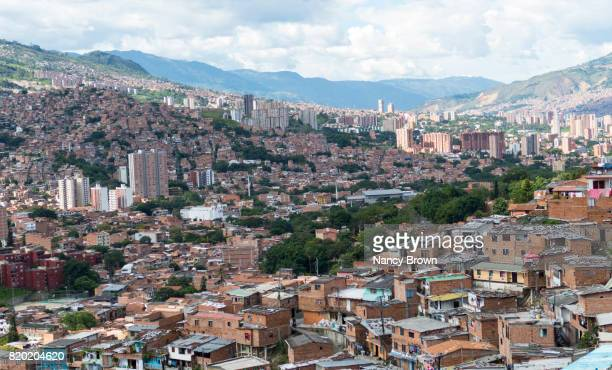 View of Medellin Colombia from the Poorer Area to the affluent part of the city.