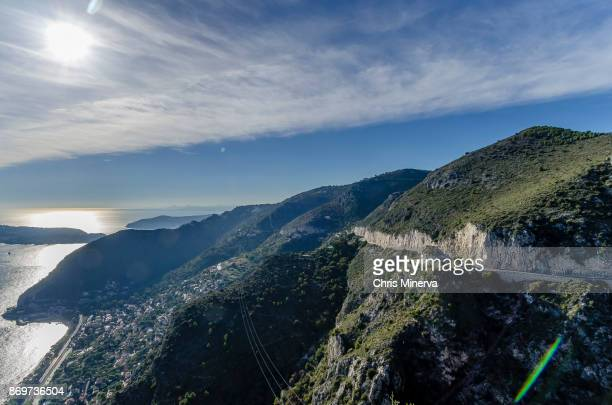 view of mediterranean sea from the top of eze, france - eze village photos et images de collection