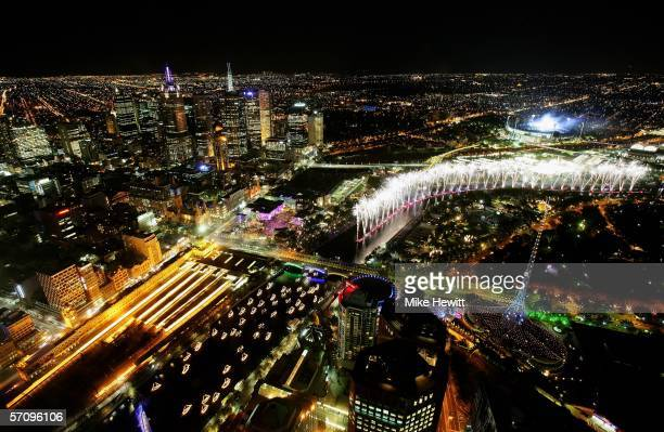 A view of Melbourne during the Opening Ceremony for the Melbourne 2006 Commonwealth Games as seen from the 84th floor of the Eureka Tower on March 15...