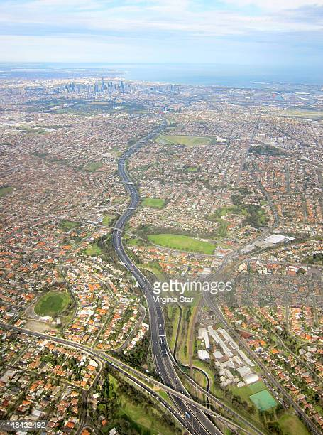 View of Melbourne over Tullamarine Freeway