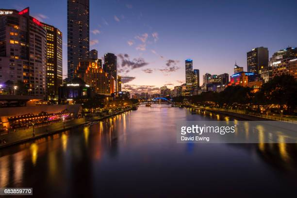 A view of Melbourne Southbank matching day through to dusk and night.
