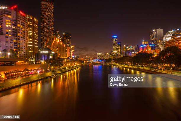 a view of melbourne southbank matching day through to dusk and night. - david ewing stock pictures, royalty-free photos & images