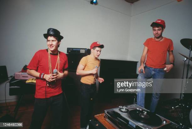 View of members of American Rap group Beastie Boys, 1987. Pictured are, from left, Mike D , Ad-Rock , and MCA .