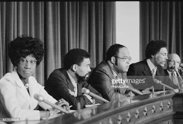 View of members of Congressional Black Caucus Washington DC May 24 1971 Pitcured are from left Representatives Shirley Chisholm Bill Clay Charles...