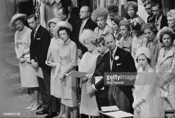 View of members of the British royal family including front row from right Queen Elizabeth II Prince Philip Prince Charles and Queen Elizabeth the...