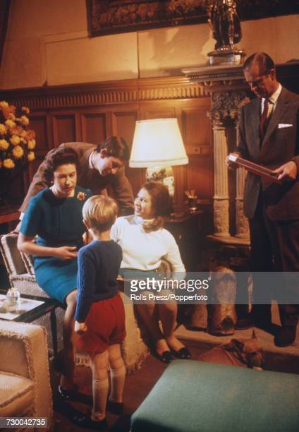 View of members of the British royal family relaxing together at Sandringham House in Norfolk, England during filming of the television documentary...