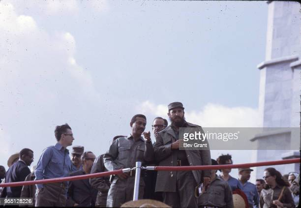 View of members of the Cuban leadership including Cuban military and political leader Prime Minister Fidel Castro in la Plaza de la Revolucion during...