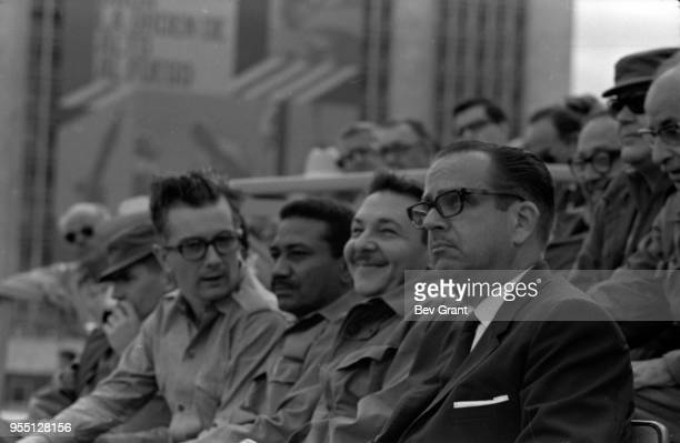 View of members of the Cuban leadership including Minister of Defence Raul Castro and President Osvaldo Dorticos Torrado in la Plaza de la Revolucion...