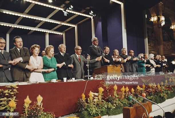 View of members of the National Executive Committee of the Labour Party including Barbara Castle 3rd from left leader of the Labour Party Harold...