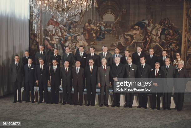 View of members of the new French Government posed together with President Georges Pompidou at the Elysee Palace in France on 7th July 1972 Back row...