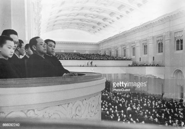 View of members of the North Korean delegation to the fifth session of the Supreme Soviet of the USSR, Moscow, Russia, March 1, 1949. Among those...