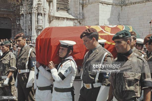 View of members of the Portuguese armed services carrying the coffin of Antonio de Oliveira Salazar former Prime Minister of Portugal during the...