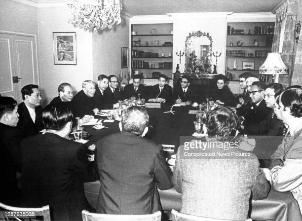 View of members of the US and North Vietnamese delegations during the Paris Peace Accords , Saint-Nom-la-Breteche, France, January 13, 1973....