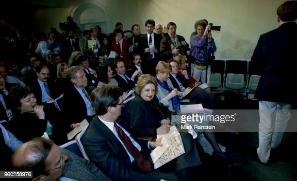 View of members of the White House Press Corps as they awais the start of the first briefing of President Clinton's new administration Washington DC...