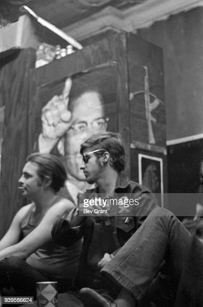 View of members of the Young Patriots Organization as they attend a Rainbow Coalition meeting at the Young Lords Party office New York New York June...