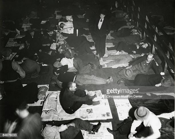 View of men gathered in a common sleeping area during the Great Depression in Cincinnati, ca.1930s.