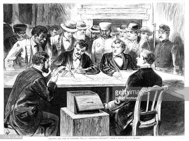 View of men seated around a table with a ballot box counting votes after the disputed 1876 presidential election at 'Elephant Johnnie's', a New...