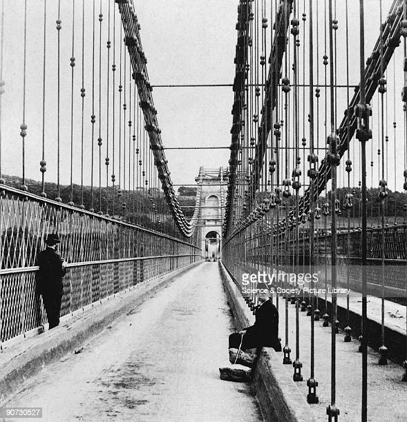 View of Menai suspension bridge Menai Strait Wales c late 19th Century One of a stereopair by Bedford Menai suspension bridge was built by Thomas...
