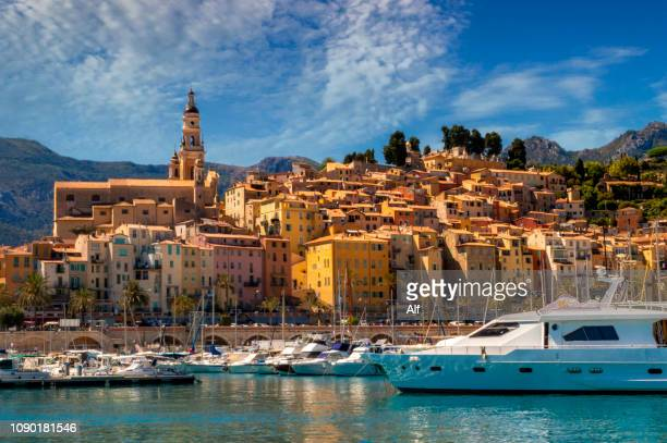 view of menton from the harbor, menton, french riviera, france - old town stock pictures, royalty-free photos & images